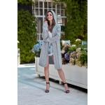 Cardigan dama lung tricotat cu gluga gri-deschis