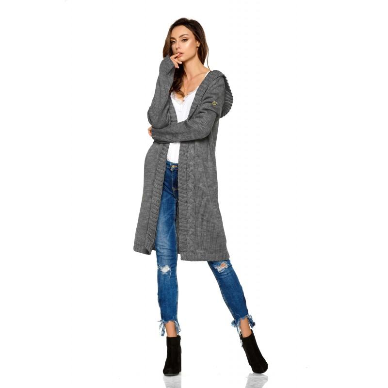 Cardigan dama lung tricotat cu gluga gri-inchis