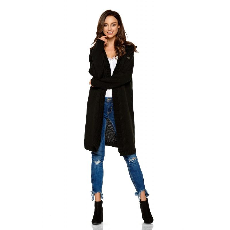 Cardigan dama lung tricotat cu gluga negru