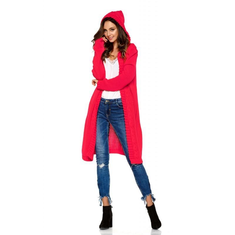 Cardigan dama lung tricotat cu gluga roz zmeura