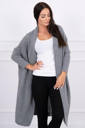 Cardigan dama gri-inchis tricotat
