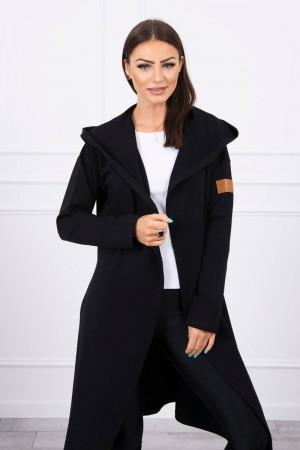 Cardigan negru lung asimetric cu gluga