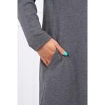 Cardigan gri-inchis lung asimetric cu gluga