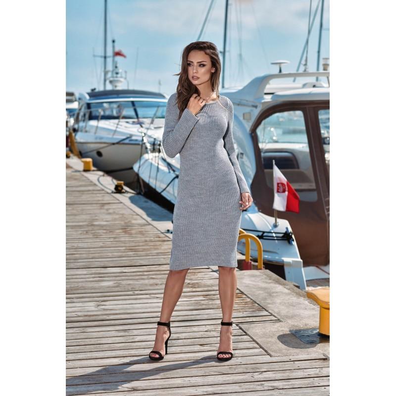 Rochie tricotata cambrata cu lungime medie gri