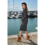 Rochie tricotata cambrata cu lungime medie gri inchis