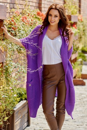 Cardigan lung si asimetric, violet