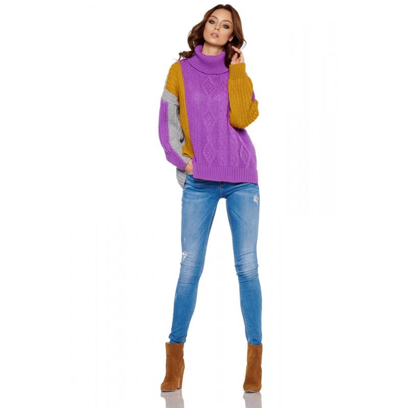 Pulover dama colorat asimetric LS233-4