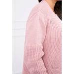 Cardigan tricotat de zi roz cu maneci lungi