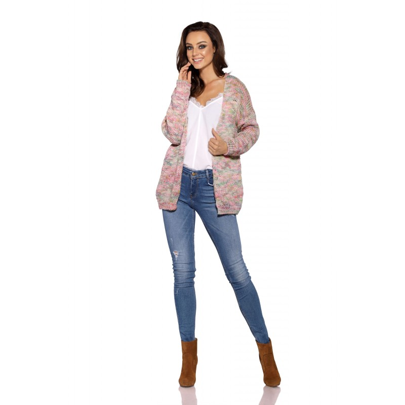 Cardigan tricotat scurt roz deschis
