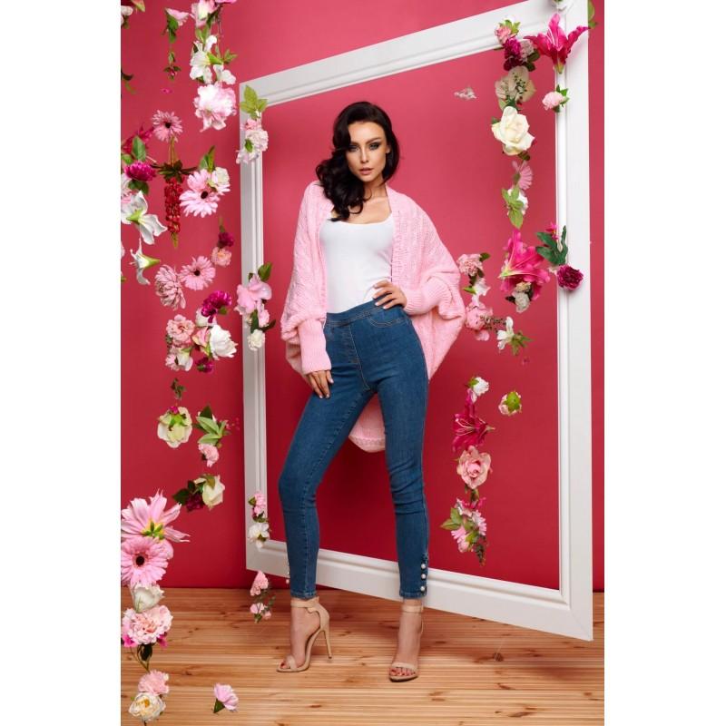 Cardigan scurt cu colturi asimetrice roz