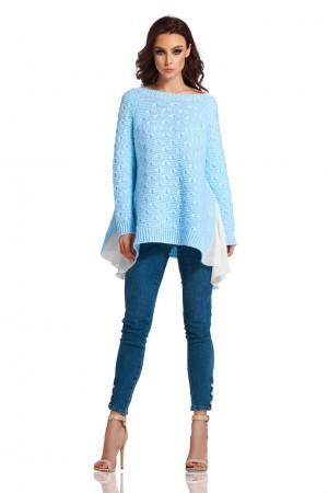 Pulover albastru cu insertii laterale