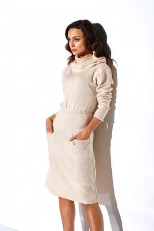 Rochie tricotata cu guler Bej