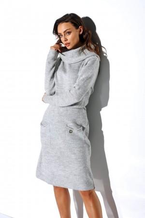 Rochie tricotata cu guler Gri