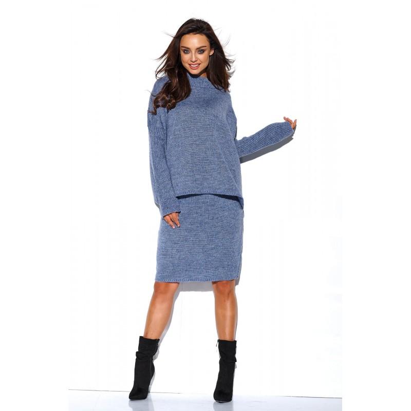 Compleu albastru tricotat dama fusta si bluza
