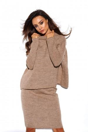 Compleu dama fusta si bluza tricotat Capucino
