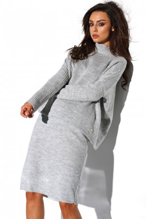 Compleu fusta si bluza tricotat gri