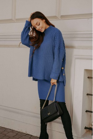 Compleu tricotat cu fusta albastru