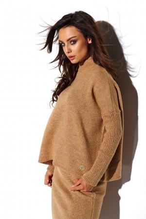 Compleu tricotat dama fusta si bluza camel