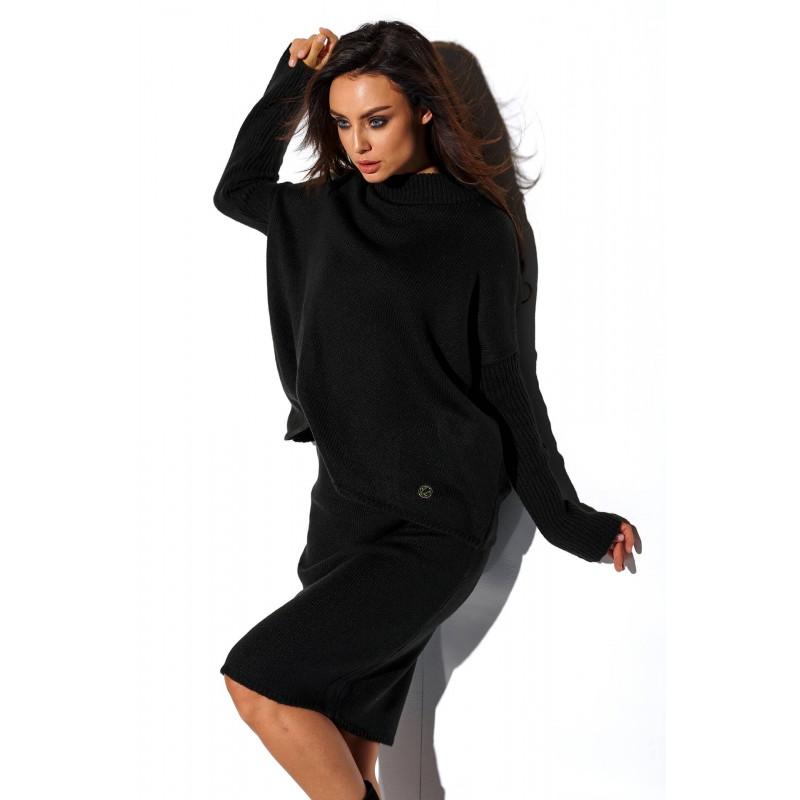 Compleu tricotat dama fusta si bluza negru