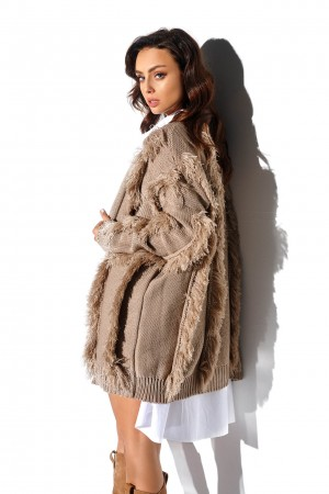 Cardigan camel cu insertii decorative