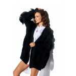 Cardigan negru cu insertii decorative