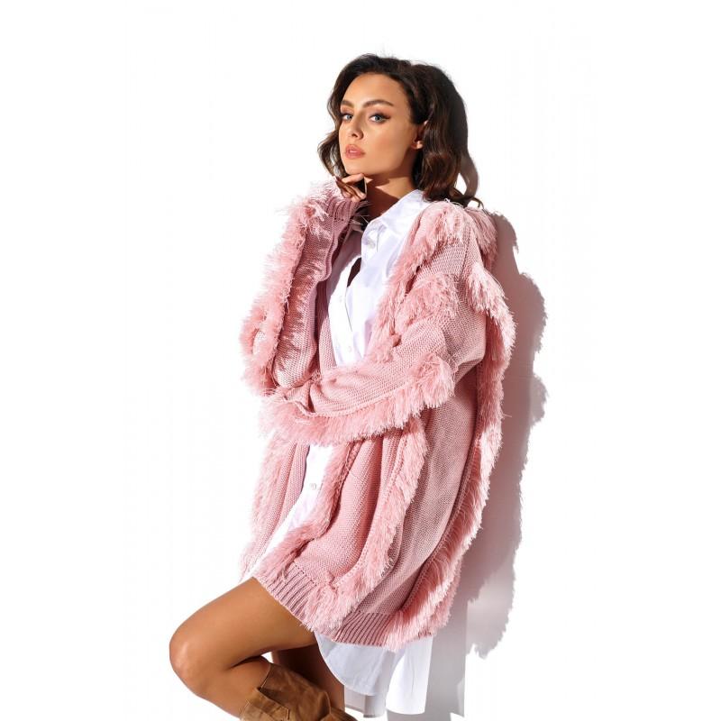 Cardigan roz cu insertii decorative
