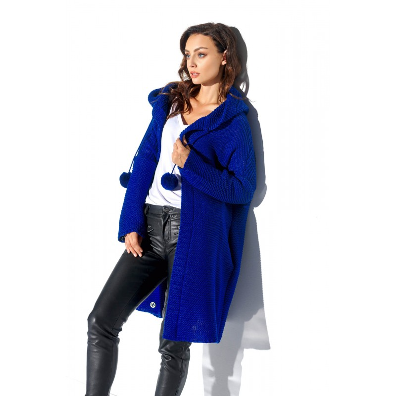 Cardigan dama cu gluga și accesorii decorative albastru