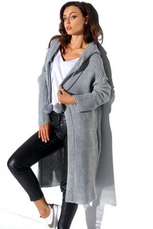 Cardigan dama cu gluga și accesorii decorative gri