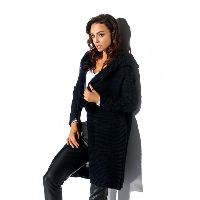Cardigan dama cu gluga și accesorii decorative negru