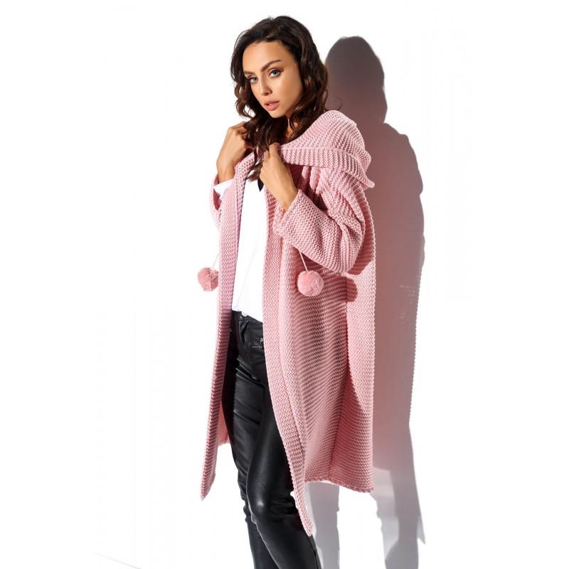 Cardigan dama cu gluga și accesorii decorative roz