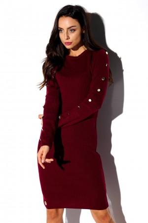 Rochie tricotata bordo cu butoni decorativi