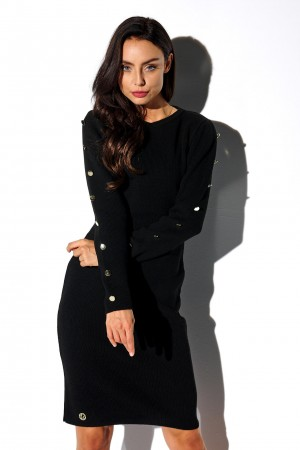 Rochie tricotata neagra cu butoni decorativi
