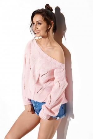 Pulover roz-deschis cu decupaje decorative