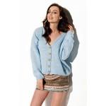 Cardigan casual bleu scurt de dama cu nasturi