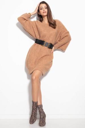 Rochie tricotata de lungime medie Camel