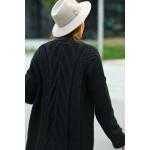 Cardigan lung asimetric lejer negru