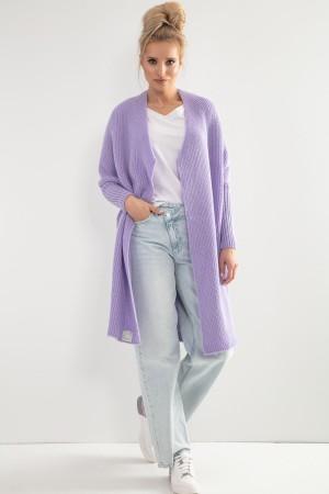 Cardigan lung dama tricotat violet