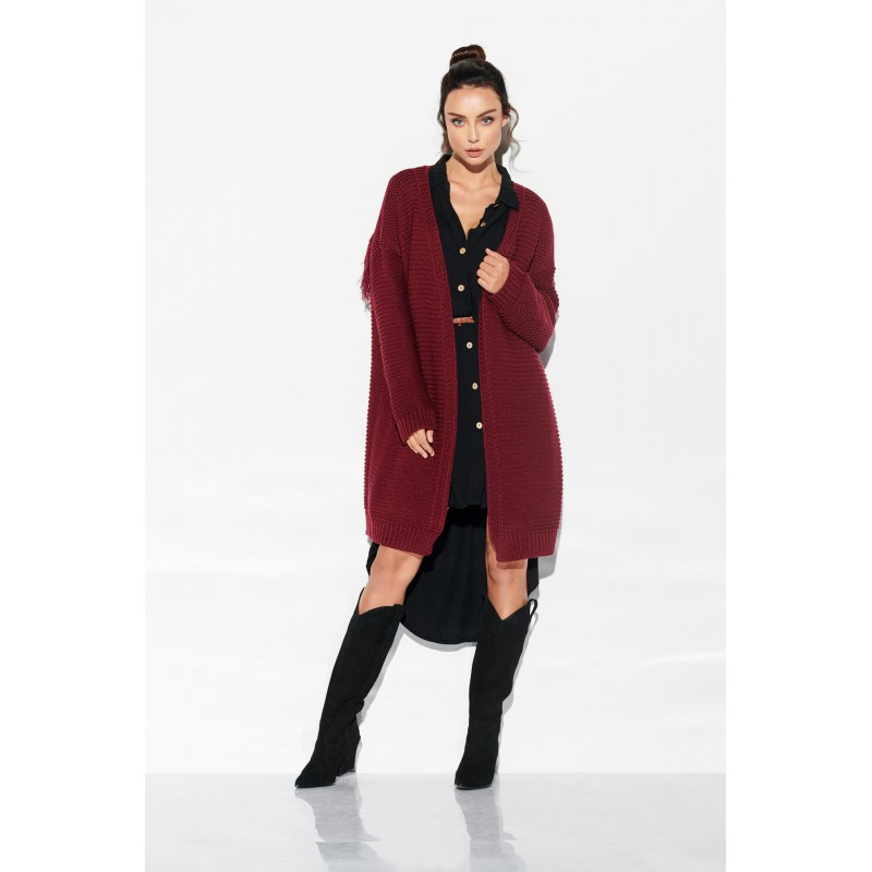Cardigan lung cu franjuri bordo