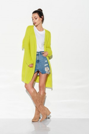 Cardigan lung cu franjuri lime