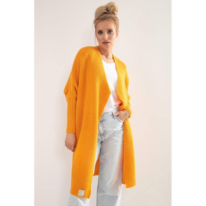 Cardigan lung cu tricotat portocaliu