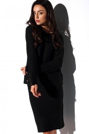 Compleu tricotat cu fusta butoni decorativi negru