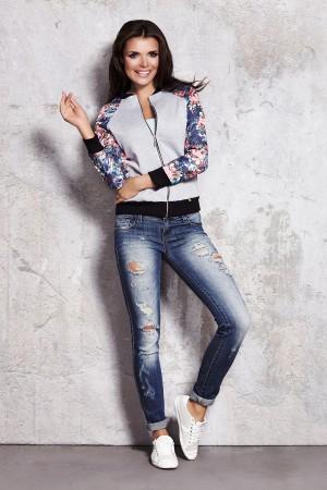 Jacheta dama casual-sport gri cu model floral