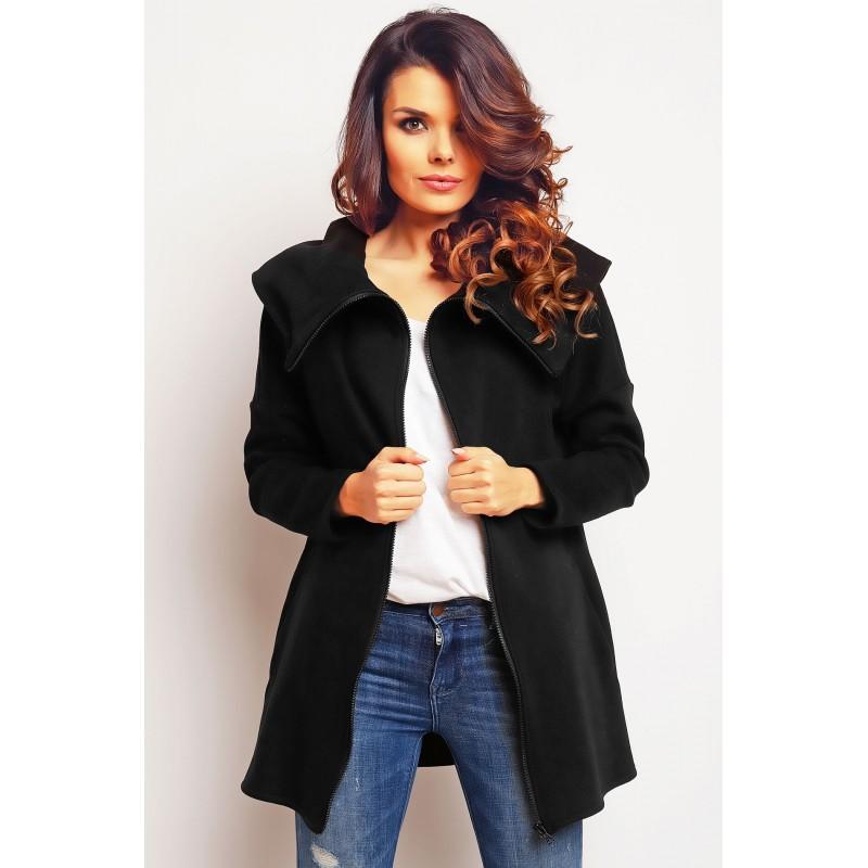 Cardigan cu gluga si lungime medie negru