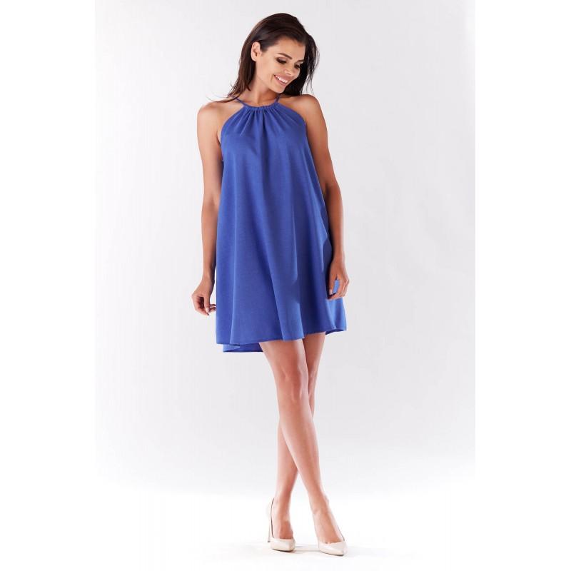 Rochie mini albastra cu croi larg si prindere pe gat