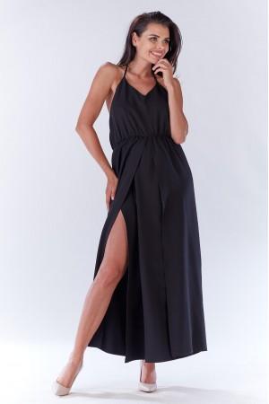 Rochie lunga neagra cu bretele si spatele gol