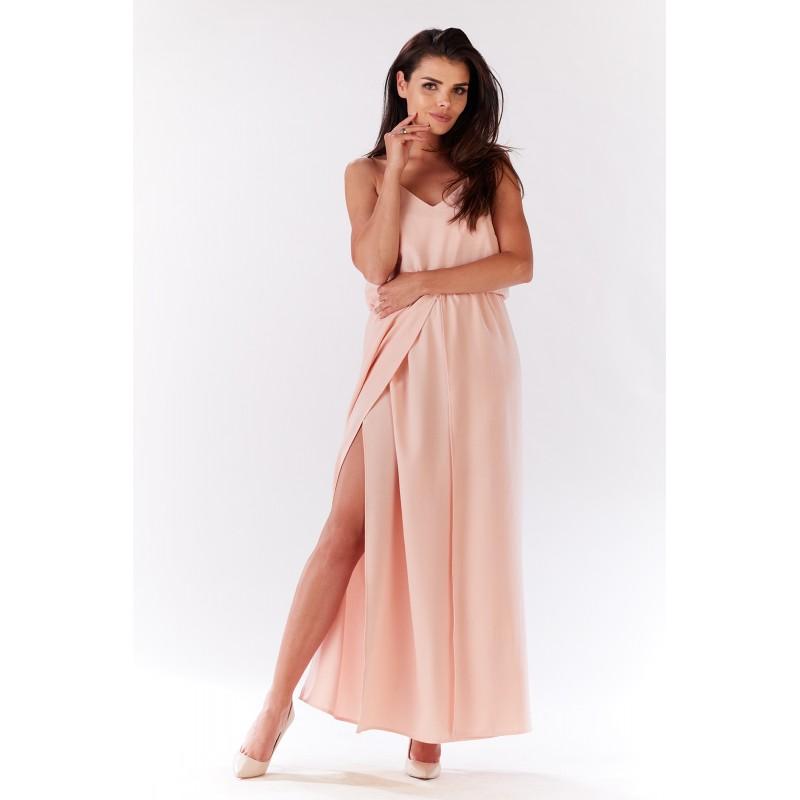 Rochie lunga roz cu bretele si spatele gol