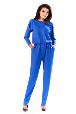 Salopeta eleganta cu spatele gol albastra
