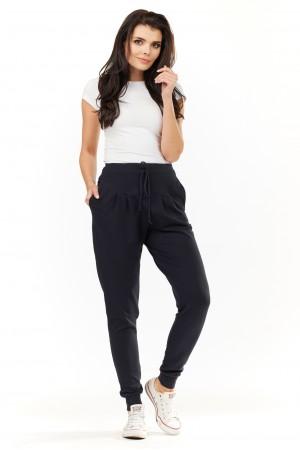 Pantaloni de dama bleumarin lungi casual-sport cu snur