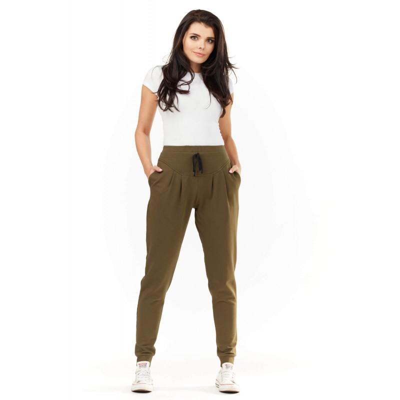 Pantaloni de dama kaki lungi casual-sport cu snur