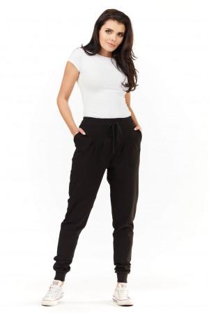 Pantaloni de dama negri lungi casual-sport cu snur